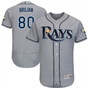 Youth Majestic Tampa Bay Rays Vidal Brujan Authentic Gray Flex base Road Collection Jersey