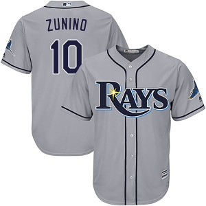 Youth Majestic Tampa Bay Rays Mike Zunino Replica Gray Cool Base Road Jersey