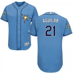 Men's Majestic Tampa Bay Rays Jesus Aguilar Authentic Light Blue Flex base Alternate Collection Jersey