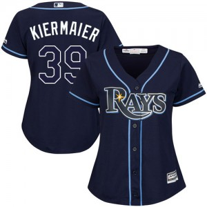 Women's Majestic Tampa Bay Rays Kevin Kiermaier Authentic Navy Blue Alternate Cool Base Jersey
